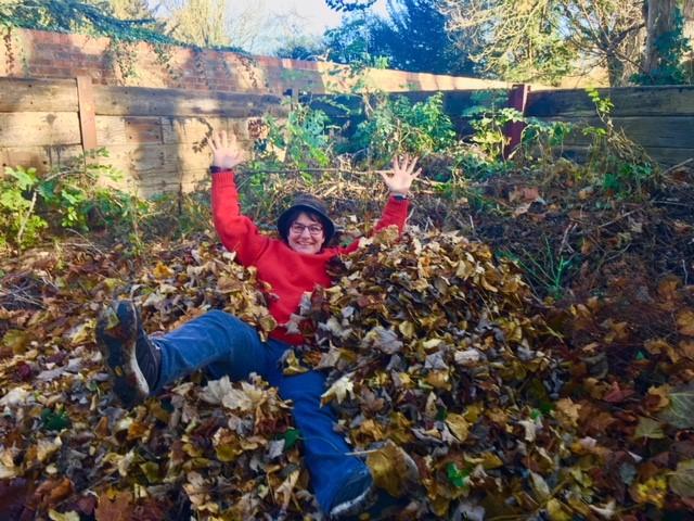 TJ in leaves